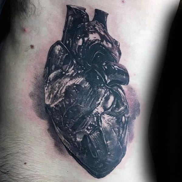 Mens Rib Cage Side Shaded Anatomical Heart Realistic Tattoos
