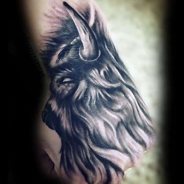 Mens Rib Cage Side Shaded Bison Tattoo Design Ideas