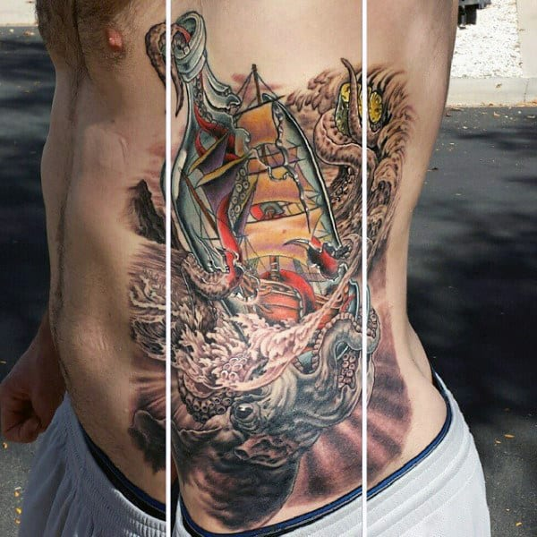 Mens Rib Cage Side Ship In A Bottle Tattoo Designs