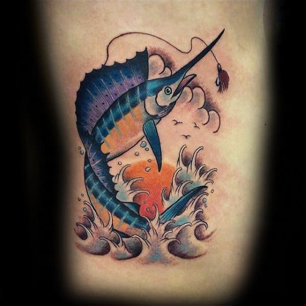 Mens Rib Cage Side Tattoo With Swordfish Design