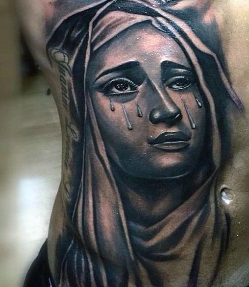 Mens Rib Cage Side Virgin Mary Tears Tattoo Designs