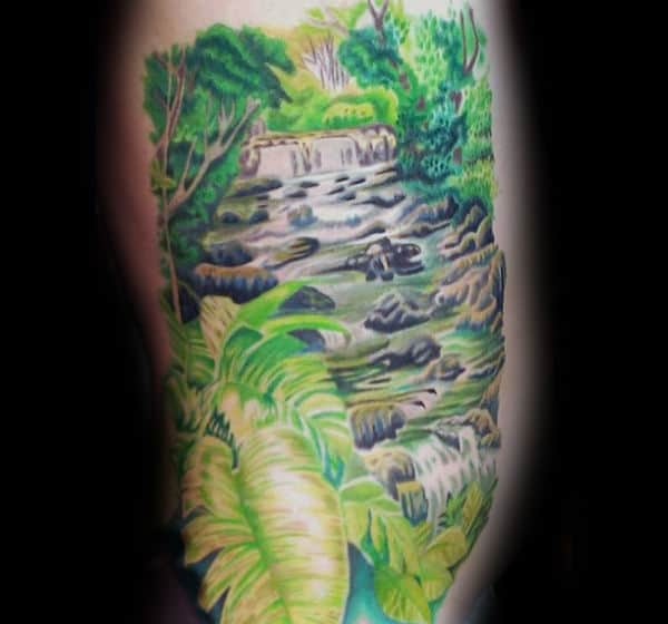 Mens Rib Cage Side Waterfall Nature Tattoo Designs