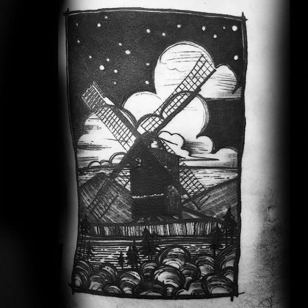Mens Rib Cage Side Windmill Night Sky With Landscape Tattoo Designs