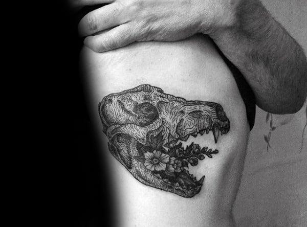 mens-rib-cage-side-wolf-skull-flowers-tattoos