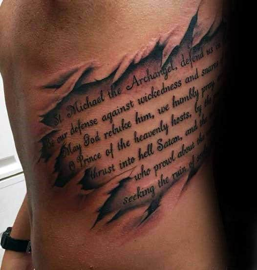 Mens Rib Quote Torn Skin Tattoo Designs
