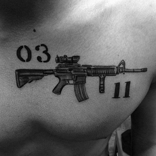 Mens Rifle Ar 15 Tattoo Ideas On Chest