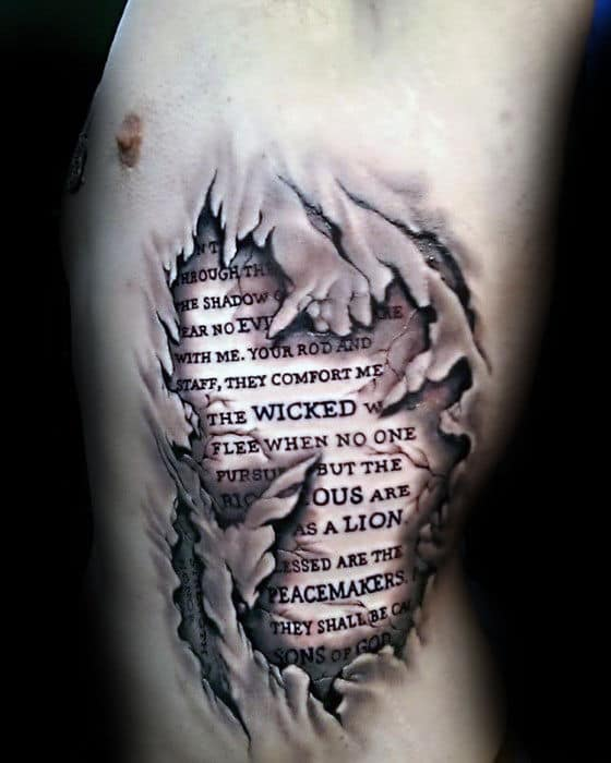 Mens Ripped Skin 3d Rib Quote Tattoos