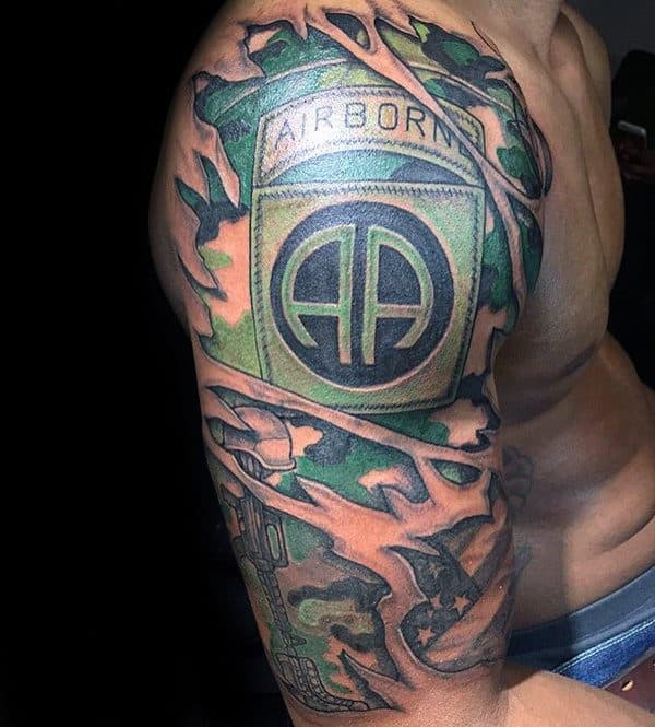 Mens Ripped Skin Airborne Camo Half Sleeve Tattoo Ideas