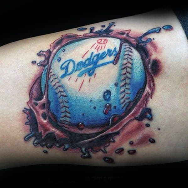 Mens Ripped Skin Baseball Dodgers Tattoo On Inner Arm Bicep