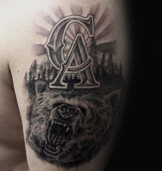 100 california tattoo designs for men pacific pride ink for California bear tattoos