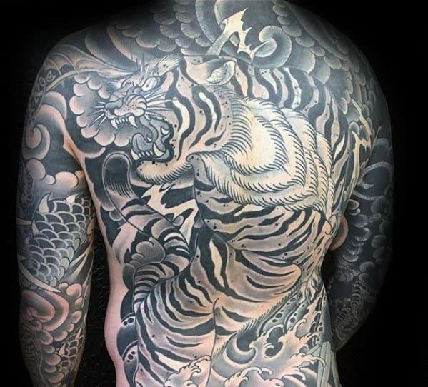 Mens Roaring Tiger Japanese Shaded Back Tattoo Designs
