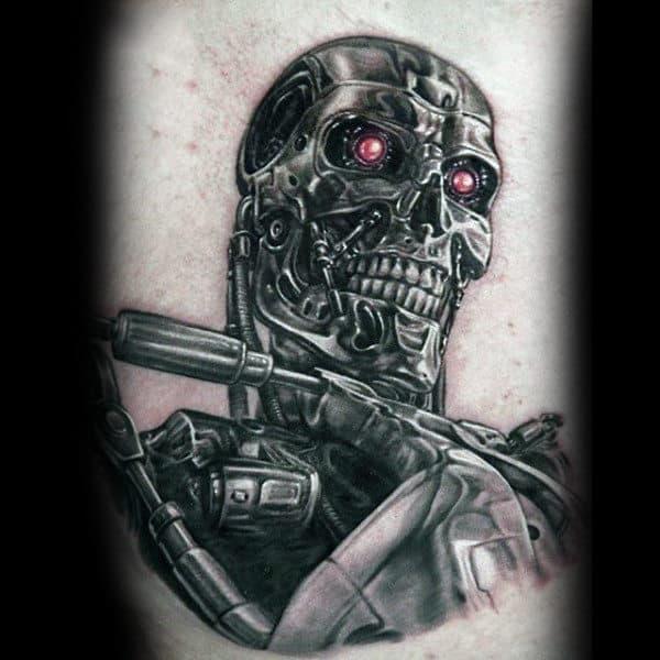 Mens Robotic Terminator Back Tattoos