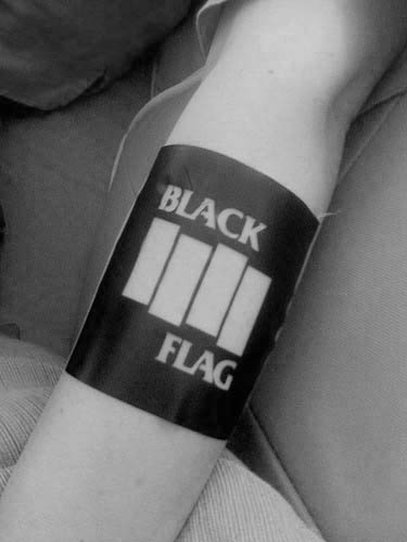Mens Rock Band Black Flag Tattoo Design Ideas