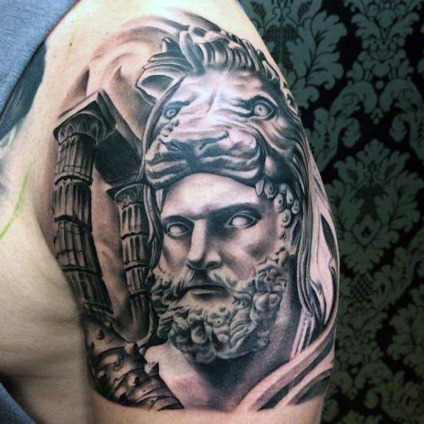 Mens Roman Columns Hercules Upper Arm Tattoos