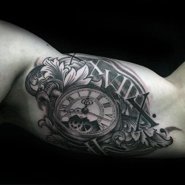 Mens Roman Numeral Filigree Pocket Watch Bicep Tattoo On Male