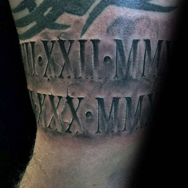 Mens Roman Numeral Stone Arm Tattoo Design Ideas