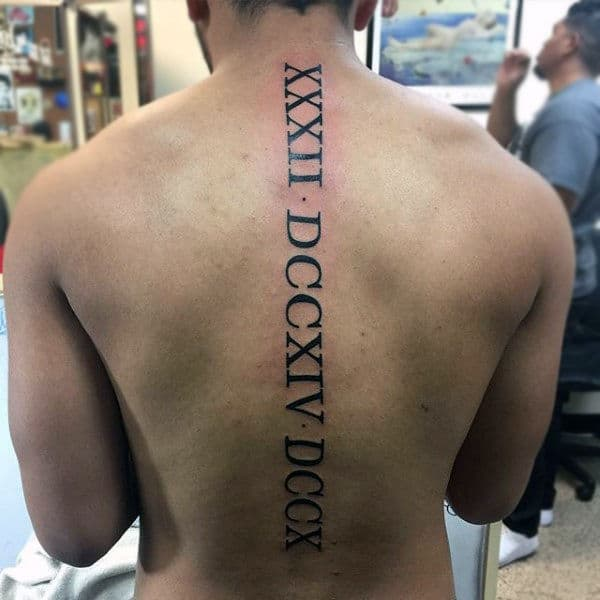 Mens Roman Numerals Spine Tattoo Design Ideas