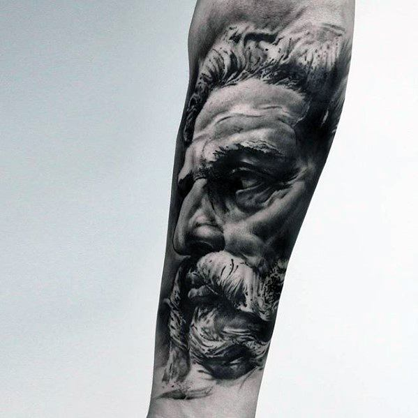Mens Roman Statue Tattoo Design Ideas On Forearm
