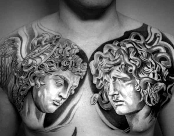 Mens Roman Statue Tattoo Design Inspiration On Chest