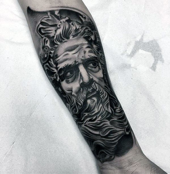Mens Roman Statue Tattoo Forearm Sleeve