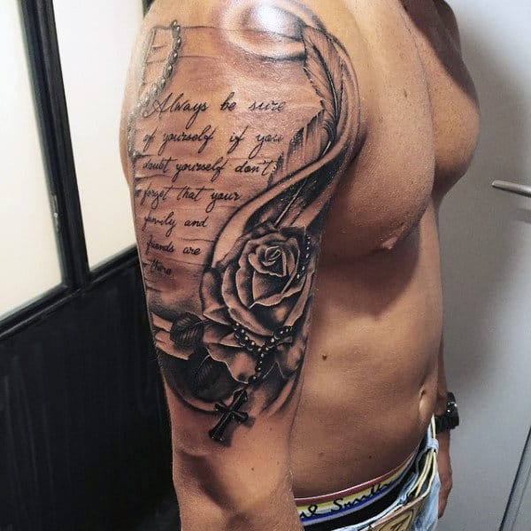 Mens Rosary Tattoos Arm With Religious Quote