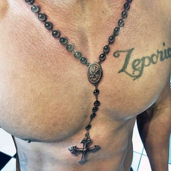 Mens Rosary Tattoos Around Neck And On Chest