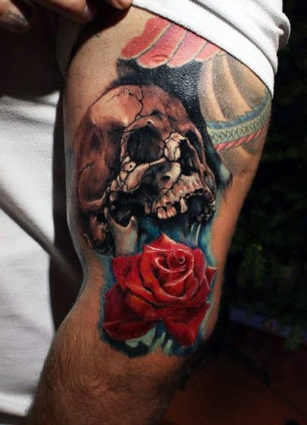 Men's Rose And Skull Tattoo