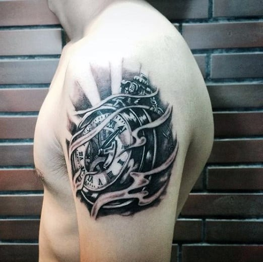 Men's Rose Clock Tattoo