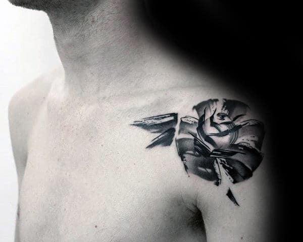 Mens Rose Flower Brush Stroke Shoulder Tattoo