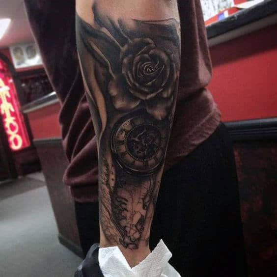 Mens Rose Flower Forearm Tattoos With Black Ink