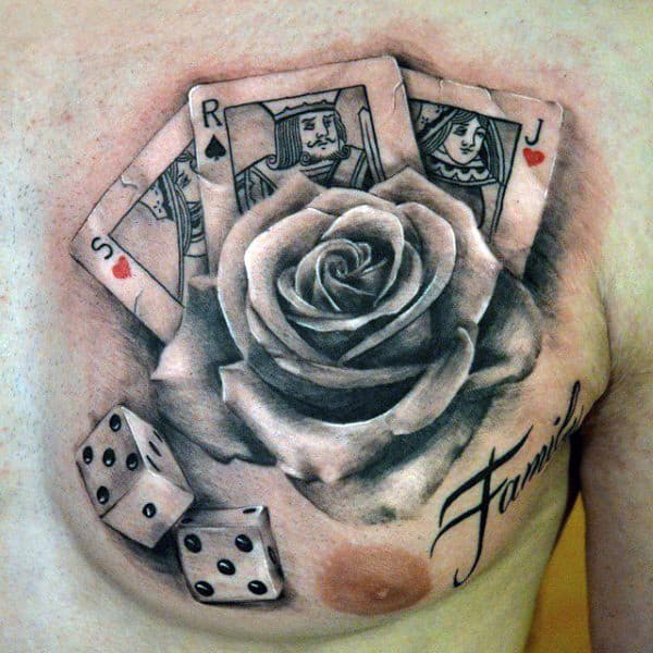 Mens Rose Flower Playing Card Chest Tattoo With Dice