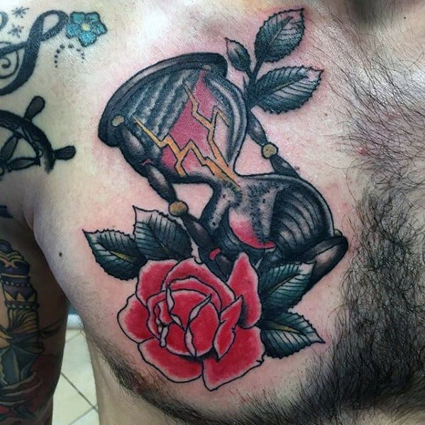 Mens Rose Flower With Hourglass Traditional Upper Chest Tattoo