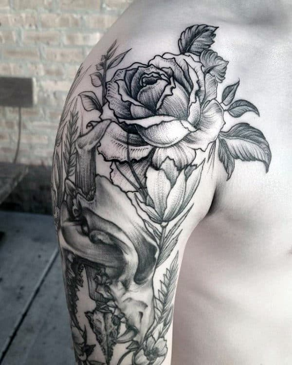Mens Rose Flower With Wolf Skull Arm Tattoos