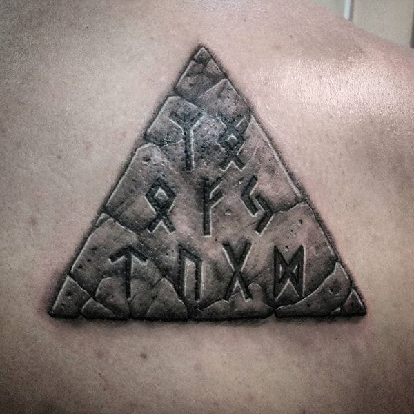Mens Run Stone Back Triangle Tattoos