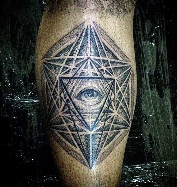 Mens Sacred Geometry Sphere Tattoo With Triangle Eye On Leg Calf
