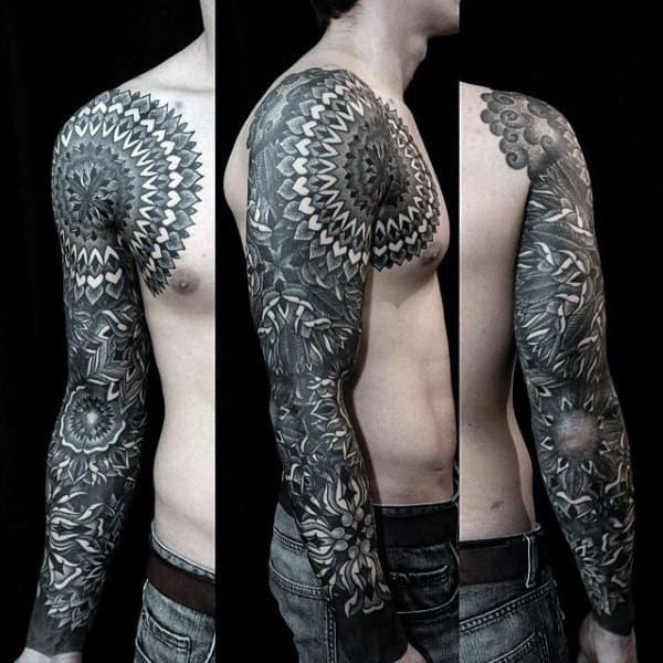 Mens Sacred Geometry Tattoo Full Sleeve Design