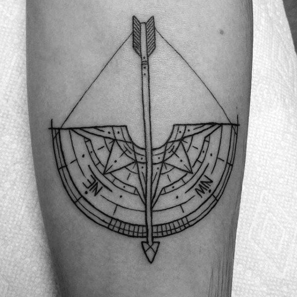 Mens Sagittarius Compass Bow And Arrow Small Forearm Tattoo