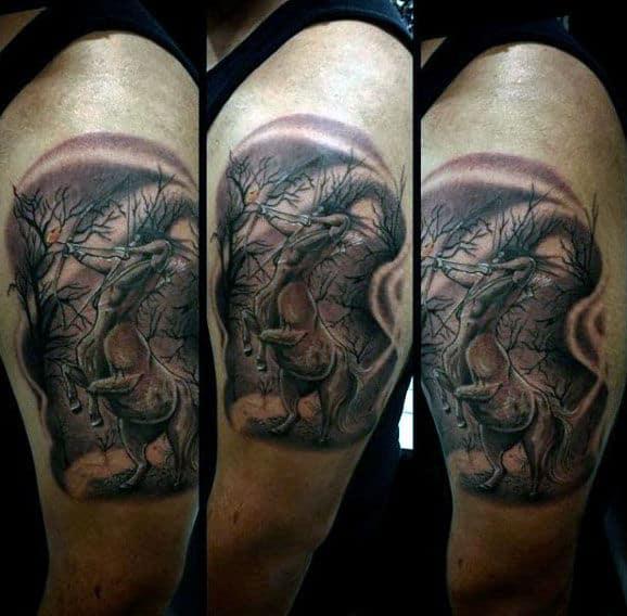 Mens Sagittarius Upper Arm Tattoo Of Archer