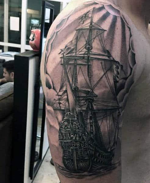 Mens Sailboat Tattoo