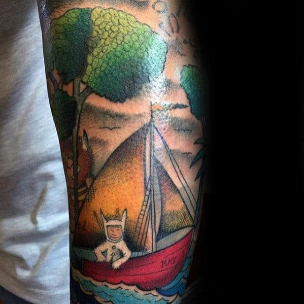 Mens Sailboat Where The Wild Things Are Forearm Tattoo