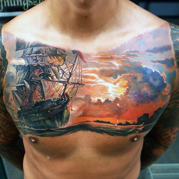 Mens Sailing Ship And Sunset Chest Piece Stylish Tattoo