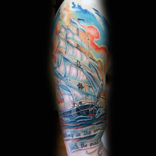 Mens Sailing Ship At Sunset Traditional Style Half Sleeve Tattoo