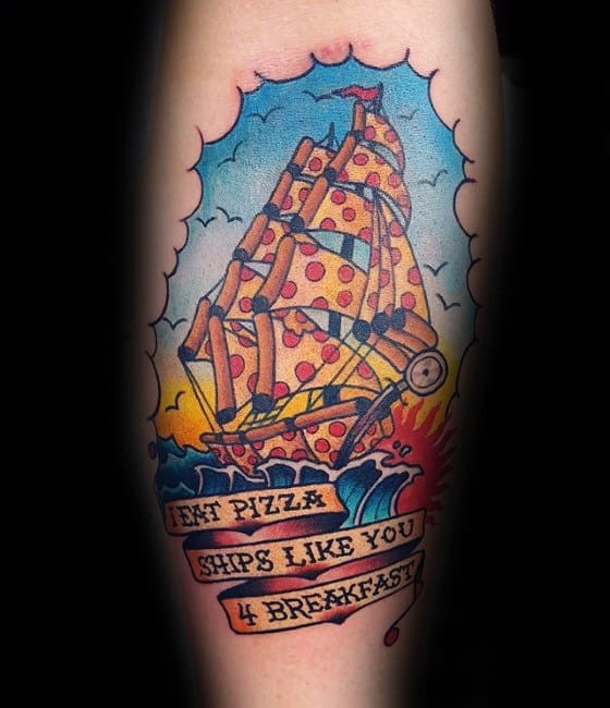 Mens Sailing Ship Pizza Tattoo Ideas On Leg