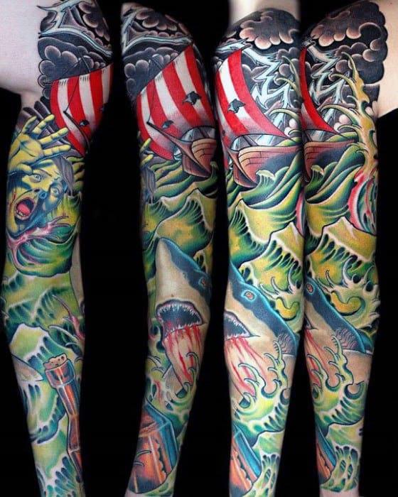 Mens Sailing Ship Shark Tattoo Sleeve Designs