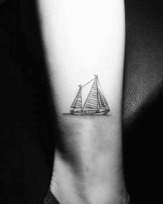 Mens Sailing Ship Small Simple Leg Tattoos