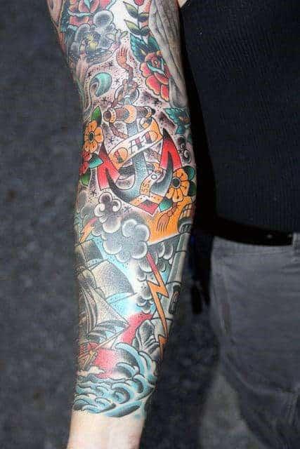 mens-sailing-ship-traditional-sleeve-tattoo-ideas
