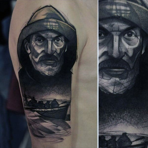 Mens Sailor Hat Tattoo Of Ship Capitan On Arm