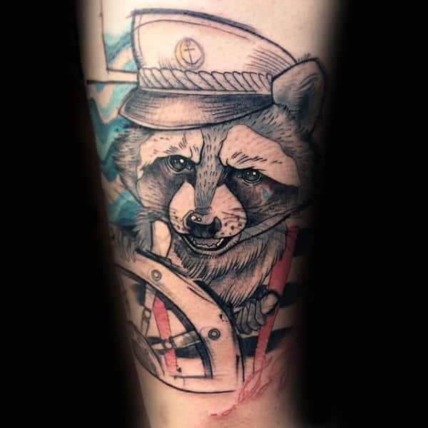 Mens Sailor Raccoon With Ship Wheel Watercolor Arm Tattoo