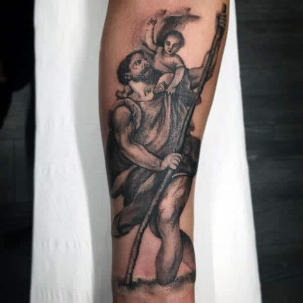 Mens Saint Christopher Inner Forearm Shaded Black And Grey Ink Tattoo Design Ideas
