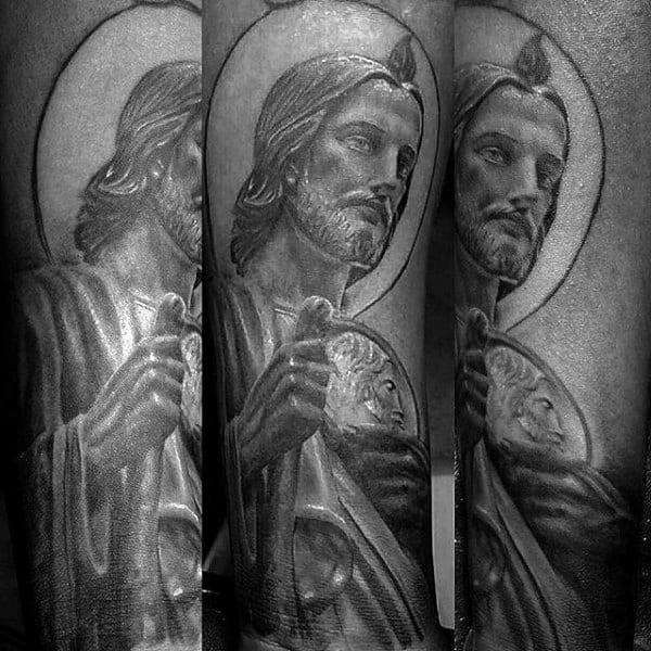 Mens Saint Jude Religious Sleeve Tattoo On Forearm